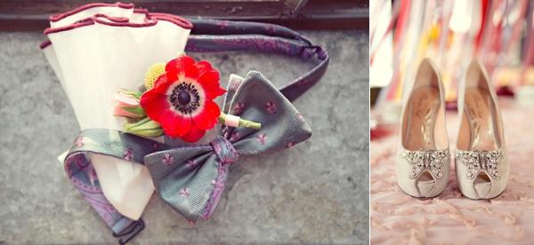 bride shoes groom bowtie