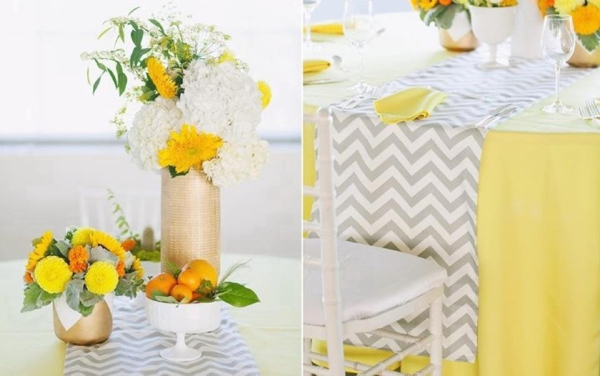 grey yellow chvron wedding runner