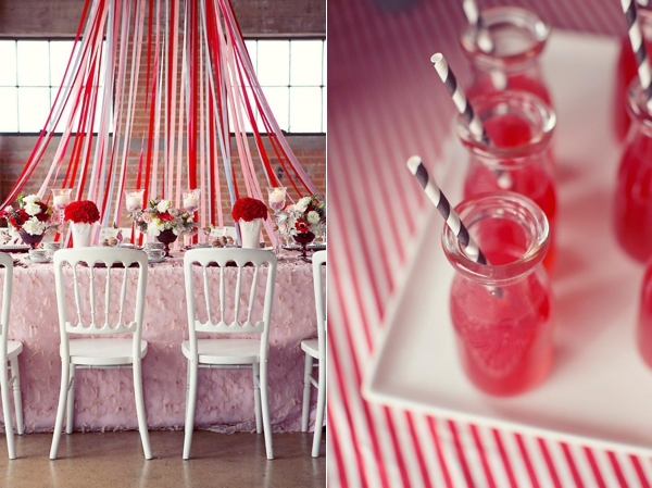 pink red streamer wedding